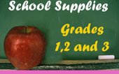 School Supplies for grades 1, 2 and 3