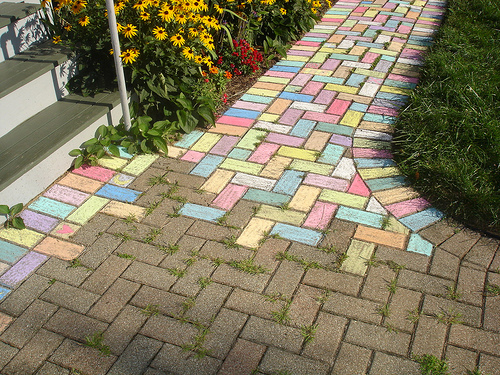 sidewalk art chalk game for kids